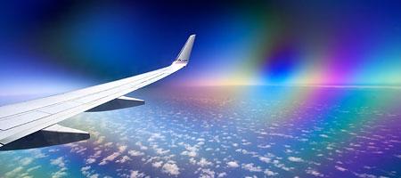 поляризационный фильтр сквозь окно самолёта — эффект бирефракции